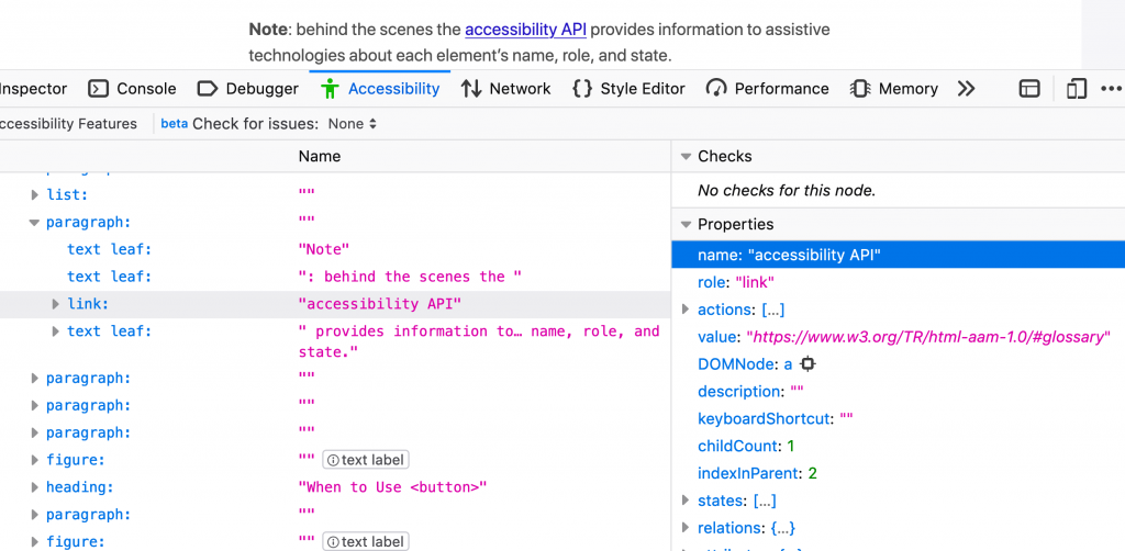 Accessibility inspector in Firefox. Showing link accessibility API view with name, role, actions, states etc.
