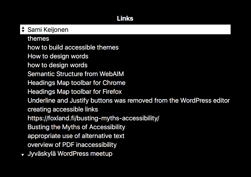 List of page links in the Voiceover.